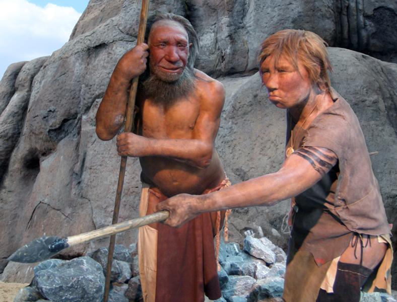 788px-Neandertal_adam_ve_kadın_modeli,_Almanya
